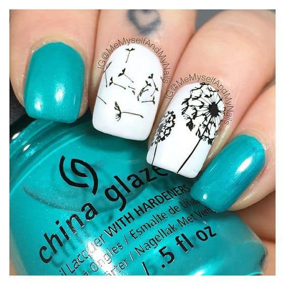 Dandelion Seeds nail art