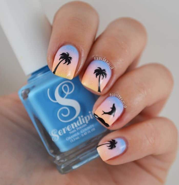 15 delightful dolphin nail art to slay the summer tropical twilight prinsesfo Gallery