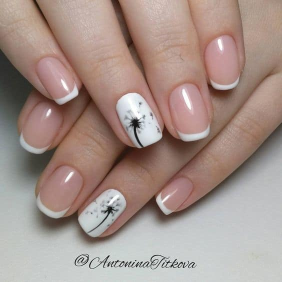 Dandelion art on French Nail