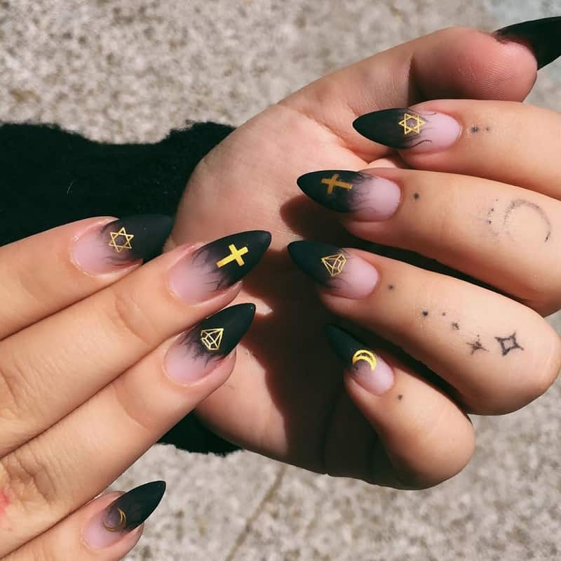 gothic wiccan nails