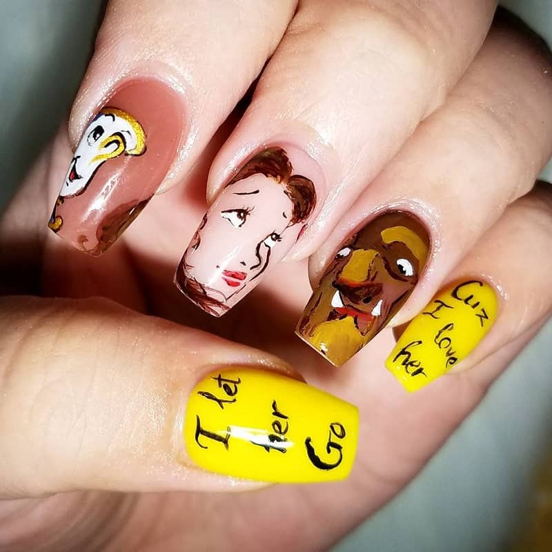 hand painted disney nails