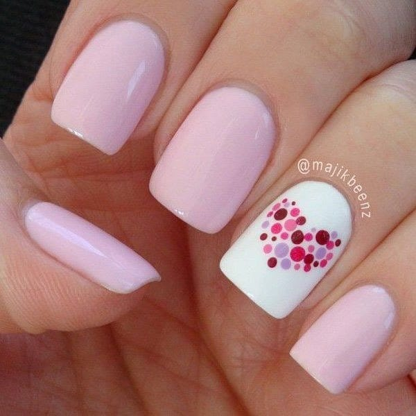 simple heart design nail