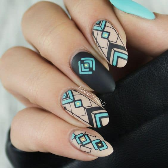 Patterned Geometric Nail Art - 25 Geometric Nail Art For The Girls With Beauty & Brains