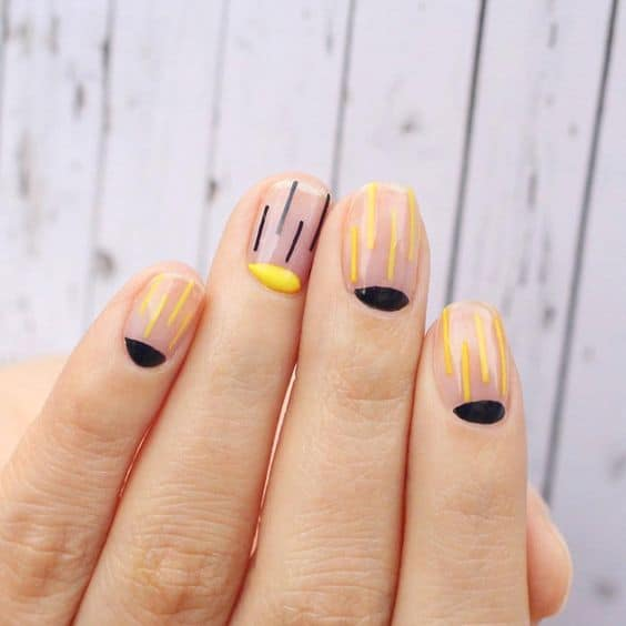 clear nail designs with lines
