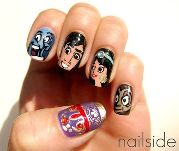 20 cutesy cartoon nail art for reminiscing childhood you can draw the images of aladin the genie and other characters from that cartoon for cartoon character nail art prinsesfo Choice Image