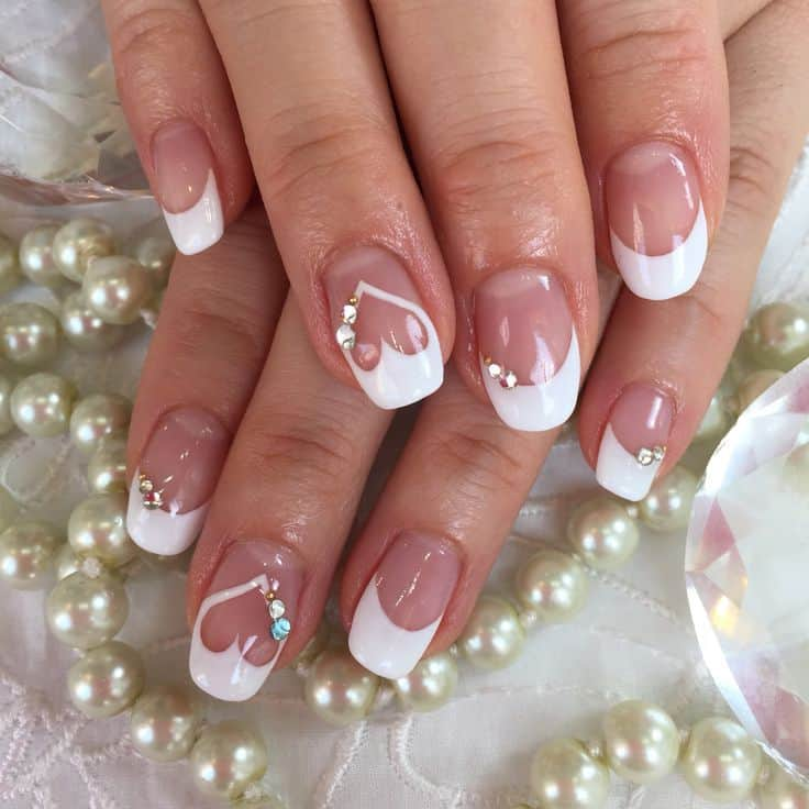 wedding nail design with heart