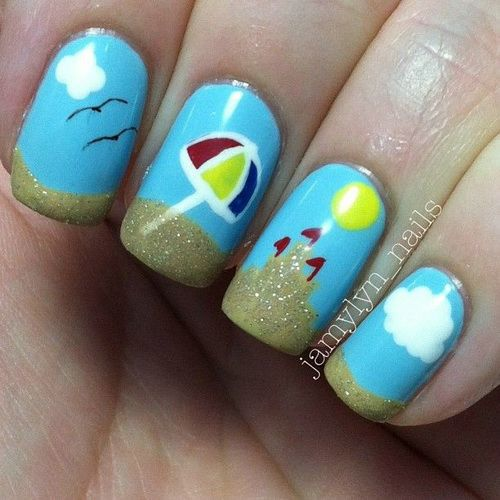 beach vacation nail designs