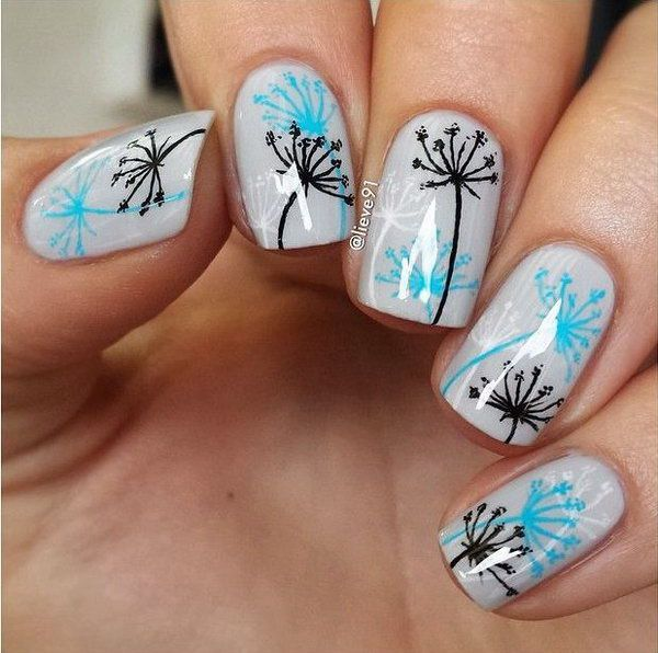 Simple Dandelion Nail Design