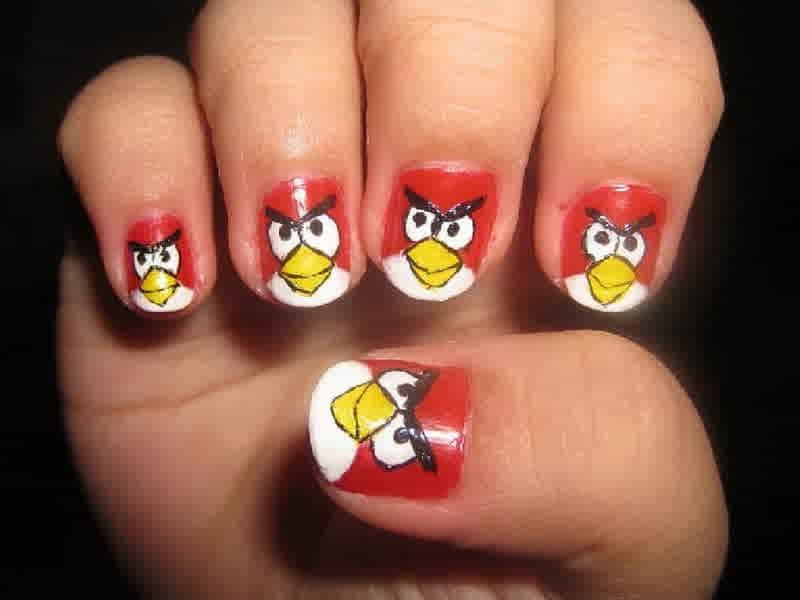 20 cutesy cartoon nail art for reminiscing childhood angry birds are popular among the kids of recent time so it is appropriate for the little kids too as theyll be able to recognize it prinsesfo Image collections