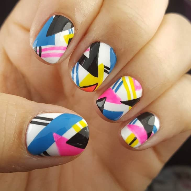 colorful hand painted nail design