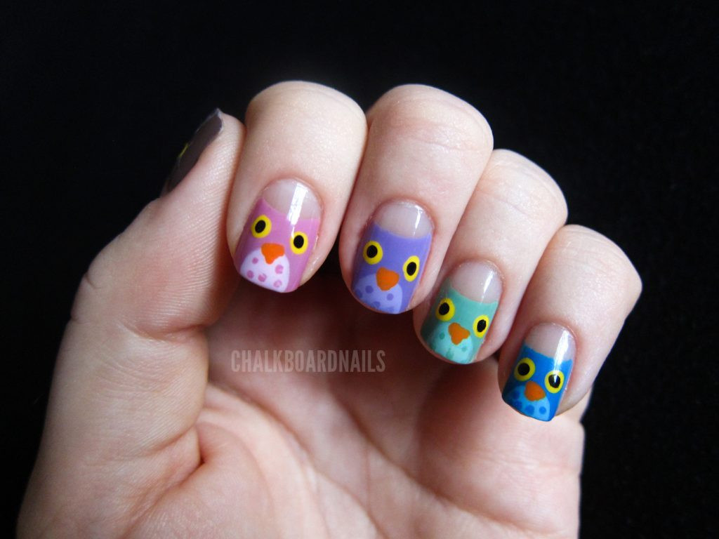 hand painted owl nail design
