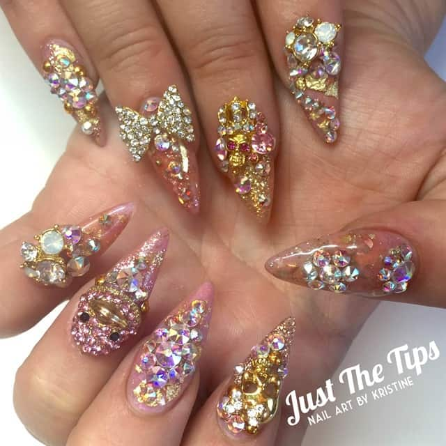 Crystal Nail with golden glitters