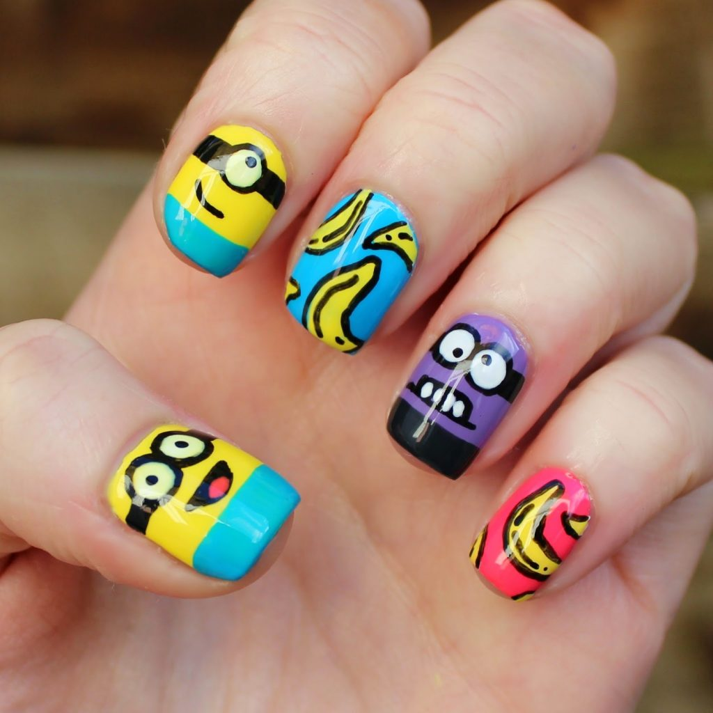 banana and minion nail design