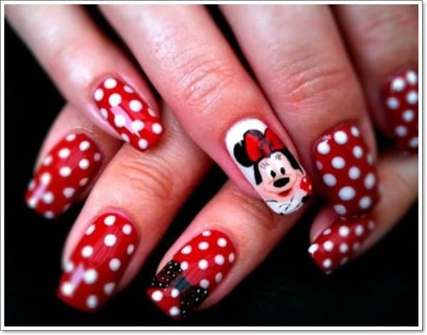 Polka Dot & Minnie Mouse Nail Art