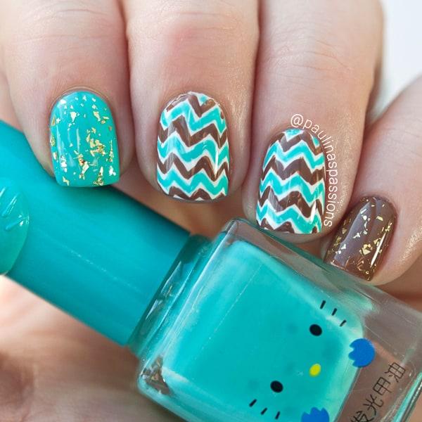 Tiffany blue & Brown Chevron nail