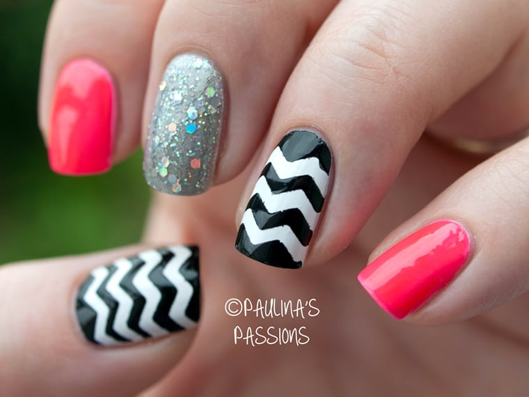 different combo chevron nail