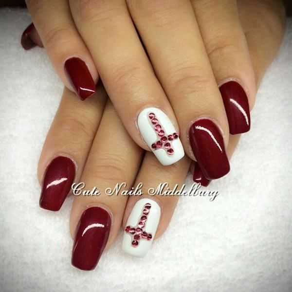 Maroon is such a color which complements any kind of designs. You can use  maroon in your cross nail designs to have the magic of this beautiful this  color. - 20 Cross Nail Designs To Uphold Your Christianity – NailDesignCode