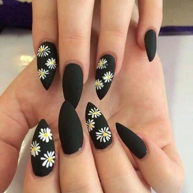 Daisy art on Matte Black Stiletto nail