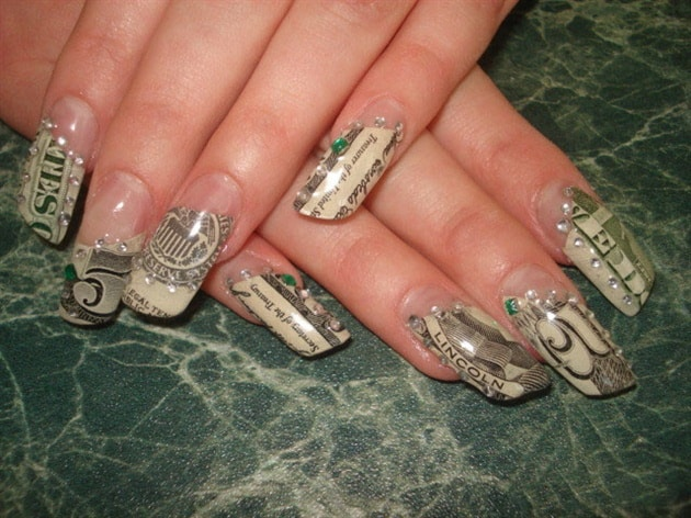 Five Dollar Note Nail Art