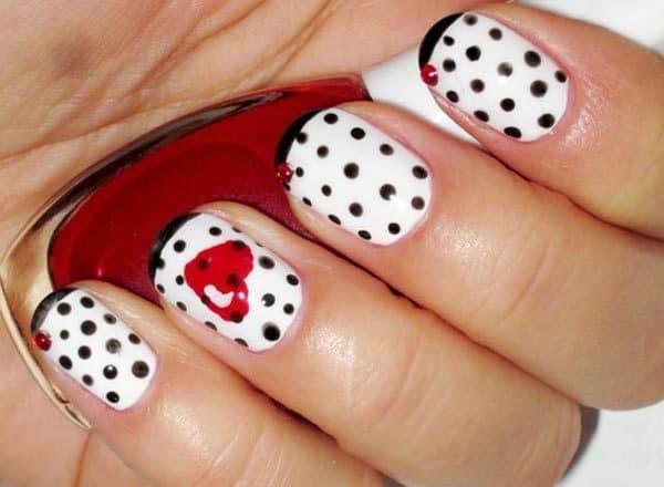 Polka Dot Valentine nail art