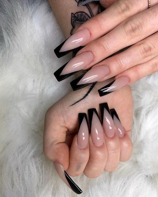 Black Tip on Coffin Nails