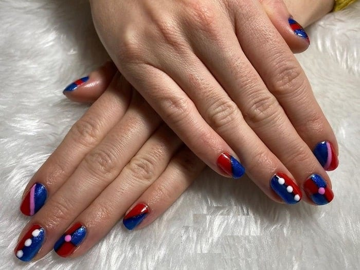 Blue and Red Harley Quinn Nail Designs