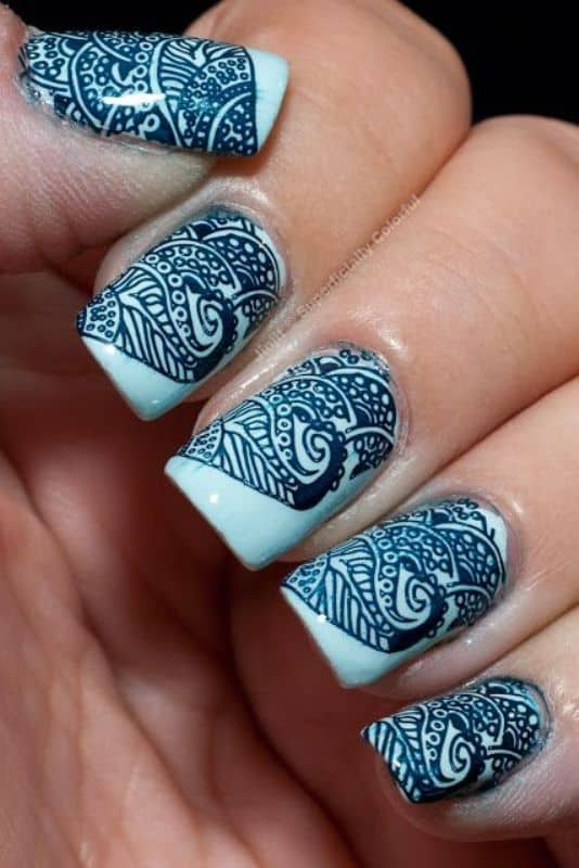traditional henna design on nail