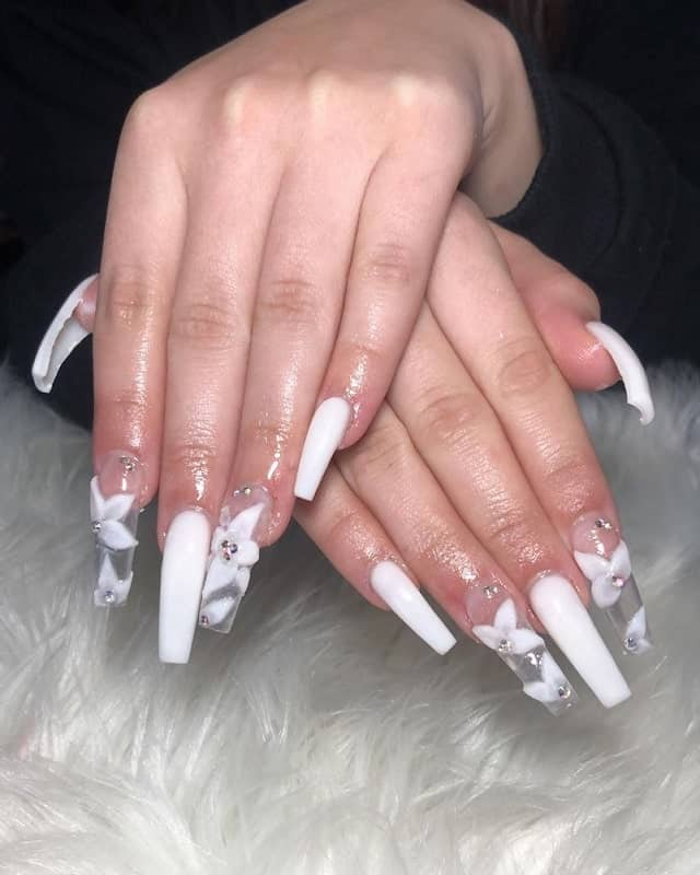 clear nails with white design