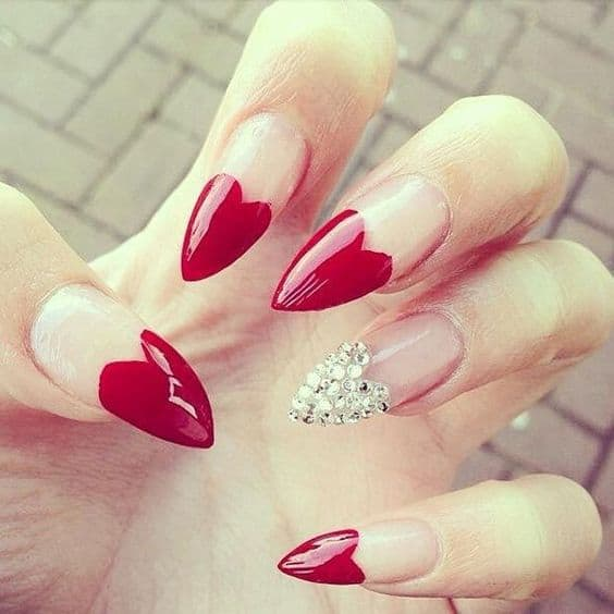heart tip stiletto nail