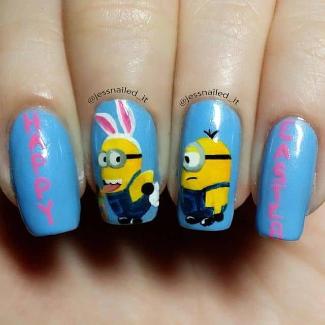 Draw a minion which resembles the image of a rabbit. This simple trick will  turn your minion nail designs into Easter nail ... - 12 Mighty Minion Nail Designs For Minion Fanatic – NailDesignCode