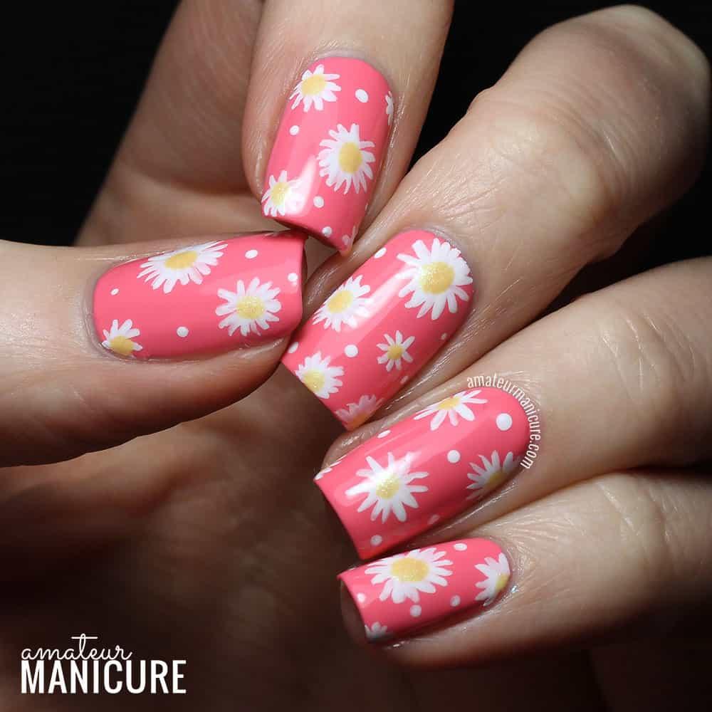 pink daisy nail designs