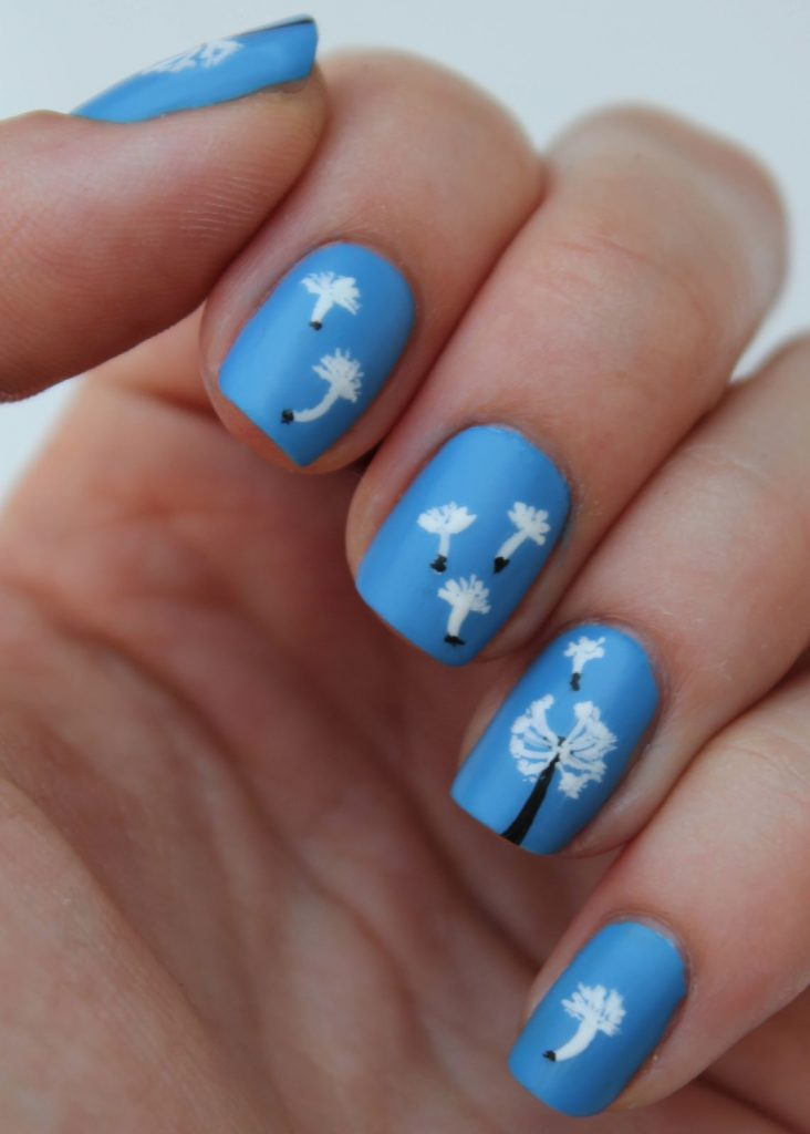 15 dandelion nail art to blow your wishes in the breeze the white florets of dandelion seeds can be a good component of dandelion nail art the sky blue background creates a sense of sky in this design prinsesfo Gallery