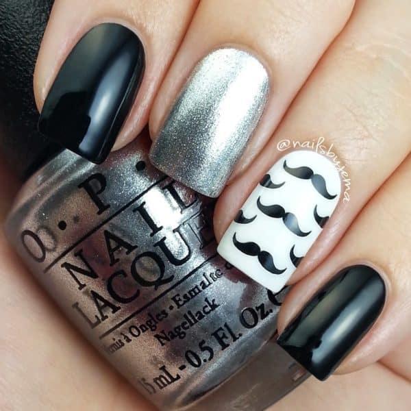 Black & White Mustache Nail