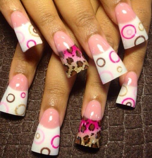 Pink Leopard Duckbill Nails