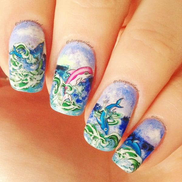 Abstract Dolphin Nail design idea