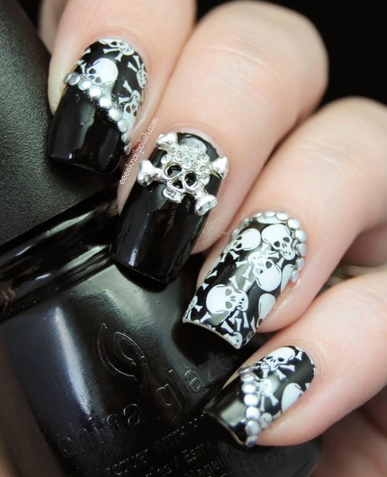 Gothic Skull Nail Design