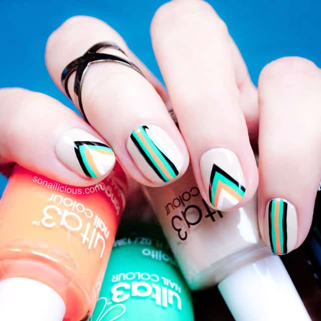 Neon Color Geometric Nail Art