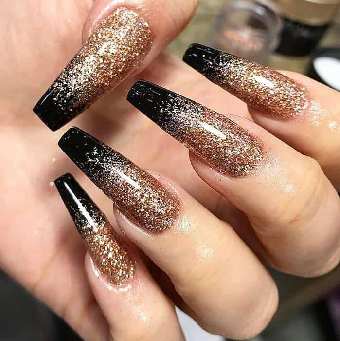 Gold Nails with Black Tips