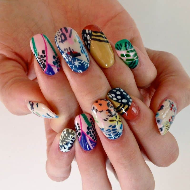 15 hand painted nail designs to try this season naildesigncode you dont have to follow any grammar book to design your nails sometimes being a bit messy adds spices to life this is a random nail art like that prinsesfo Choice Image