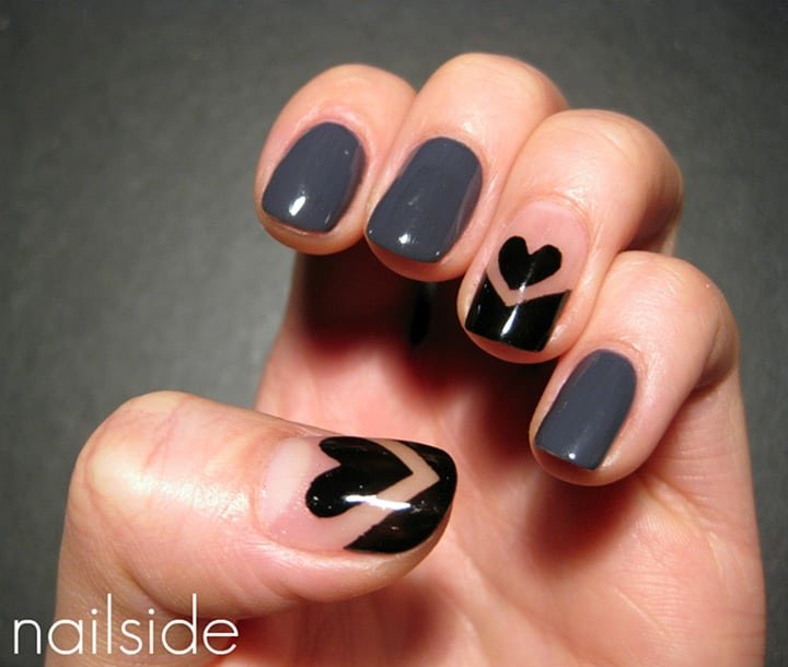 black tip heart nail design