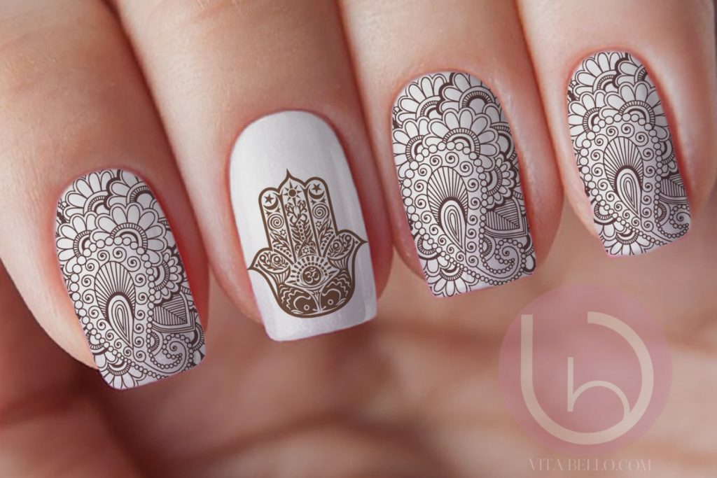 15 creative henna nail designs to look modish naildesigncode henna is used in both hinduism and islam religion it is a common sight in hindu weddings and muslim festivals besides some patterns are identical to the prinsesfo Choice Image