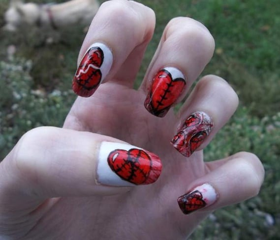 Broken Heart Emo Nail Design