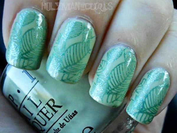 mint leaves design on nail