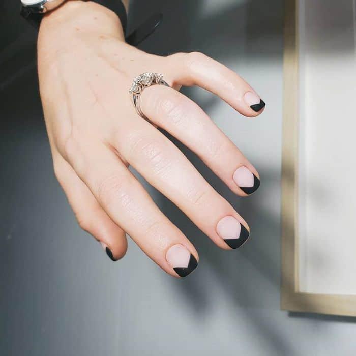 Matte Black Tip Nails
