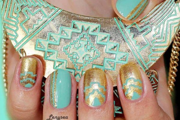 Mint Green Gold Nail Design