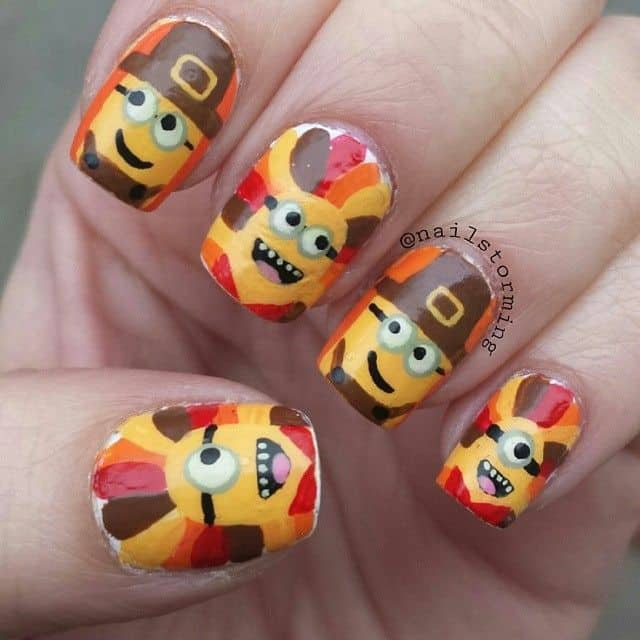 Thanksgiving turkey minion nail art