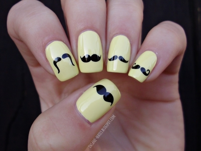 Different Mustache design on nail