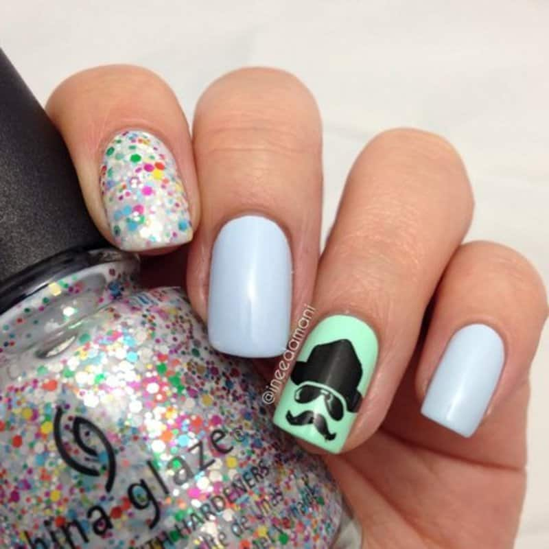 7 cutest mustache nails that look adorable naildesigncode this design illustrates a handsome guy wearing sunglasses and hat since it is all about mustache nails he has a mustache too prinsesfo Image collections
