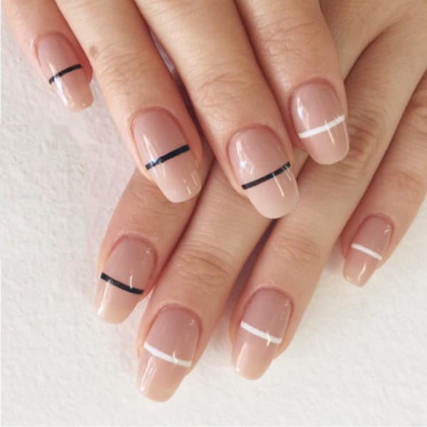 25 geometric nail art for the girls with beauty brains just a bisecting straight line crossing the middle part of the nails can also give birth to a geometric nail art you can draw these bisecting lines in prinsesfo Images