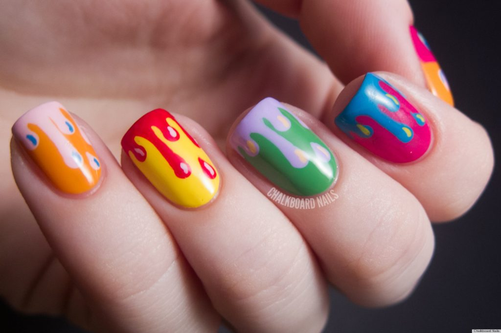 Dripping color Hand painted Nail